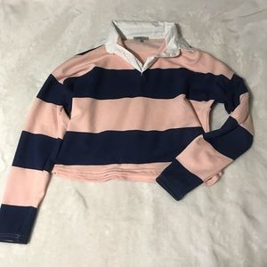 Charlotte Russe Striped Cropped Shirt